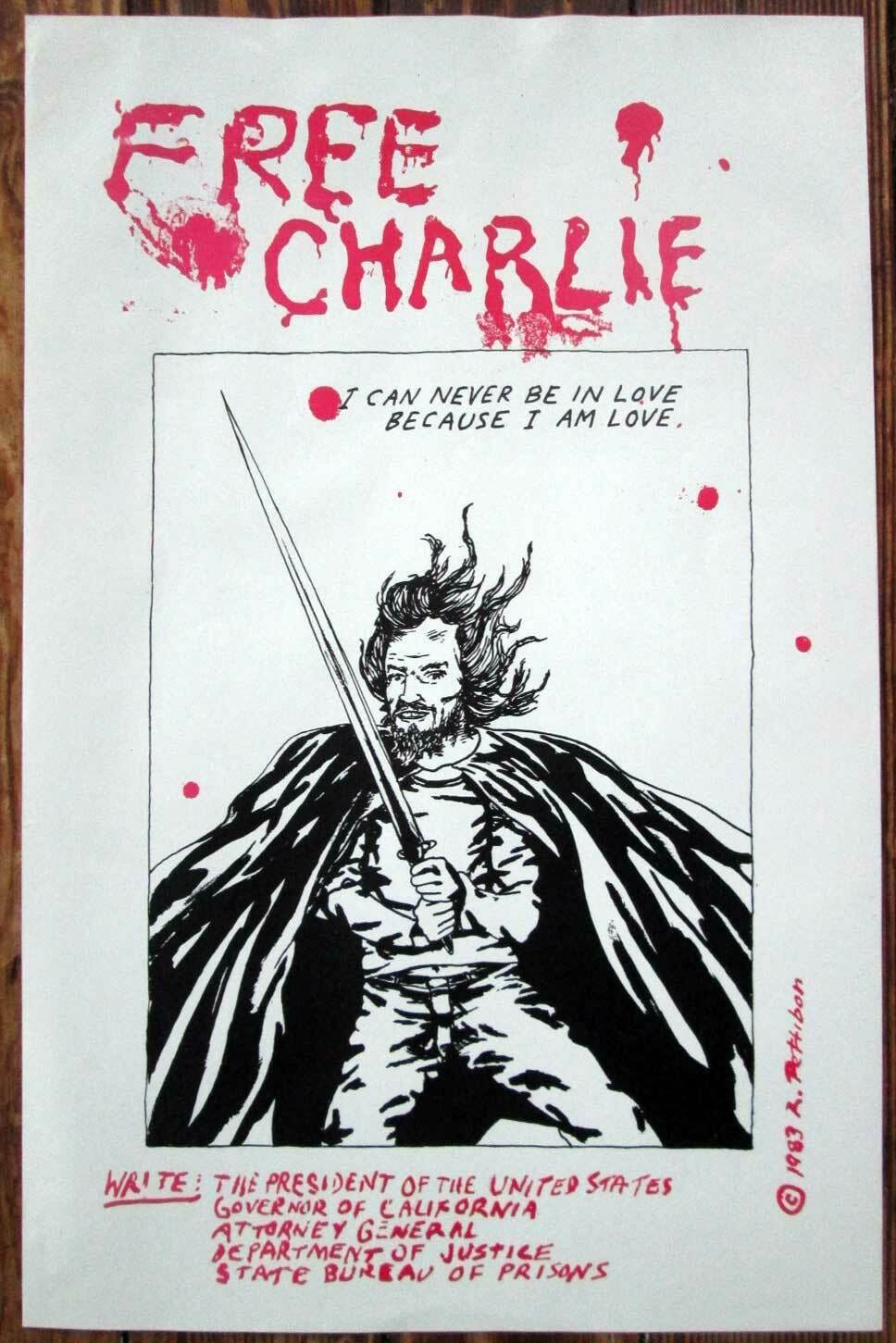 popsike.com - *Genuine* RAYMOND PETTIBON Free Charlie POSTER 1983 SST CHARLES  MANSON - auction details