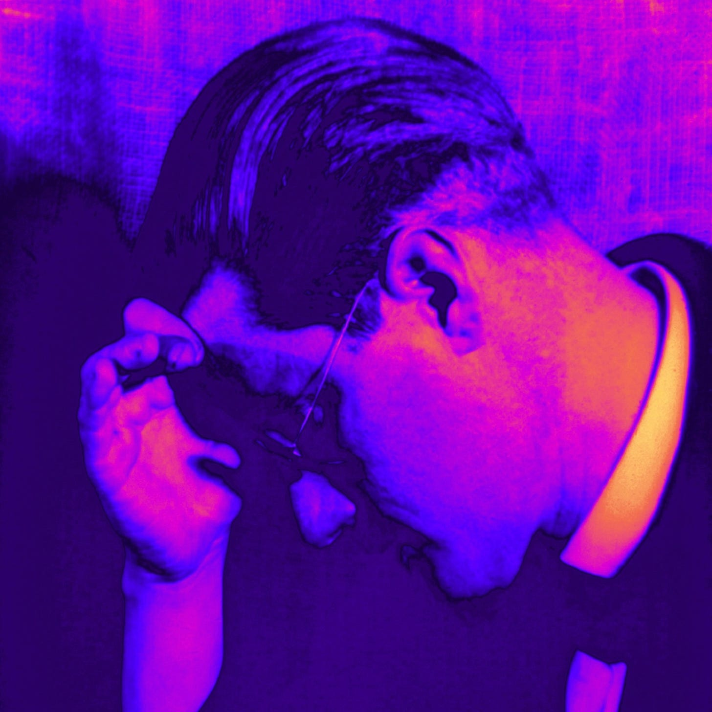 James Joyce with his head in his hand