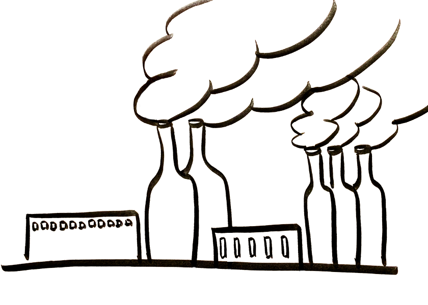 A factory with wine bottles for smokestacks