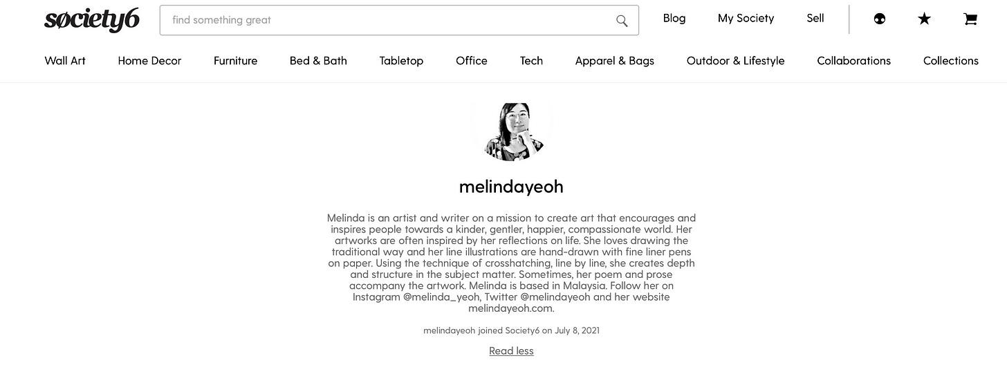 screenshot of my shop on society6