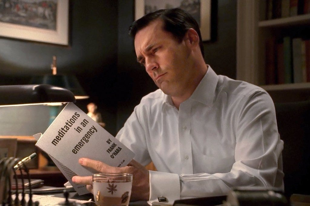 Don Draper reads Frank O'Hara's Meditations in an Emergency poetry collection on Mad Men