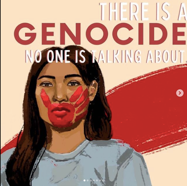 graphic of a Native American woman with a red handprint across her face