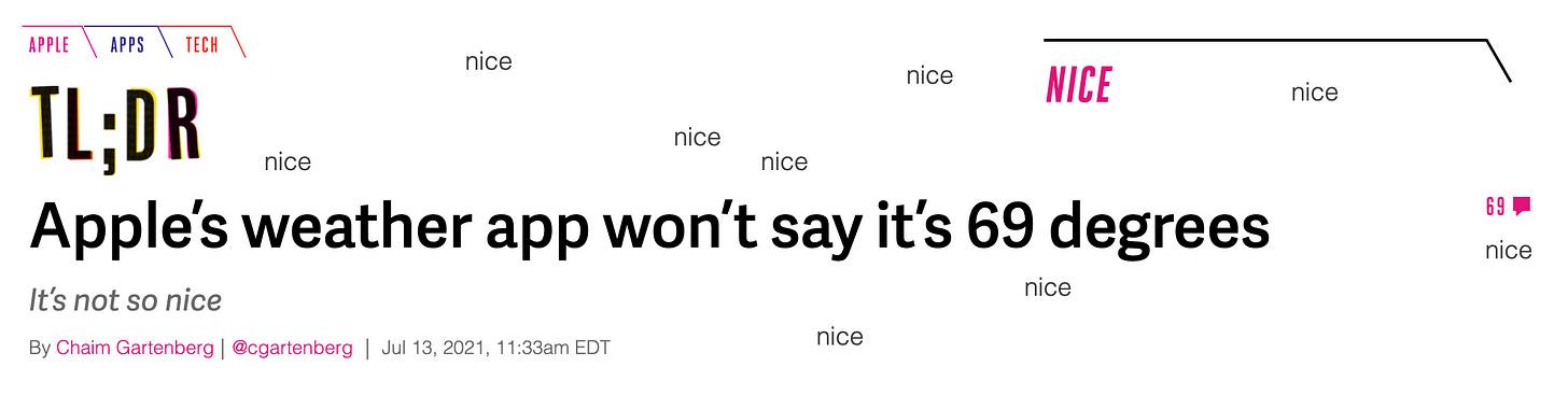"Verge headline: ""Apple's weather app won't say it's 69 degrees"" by Chaim Gartenberg"