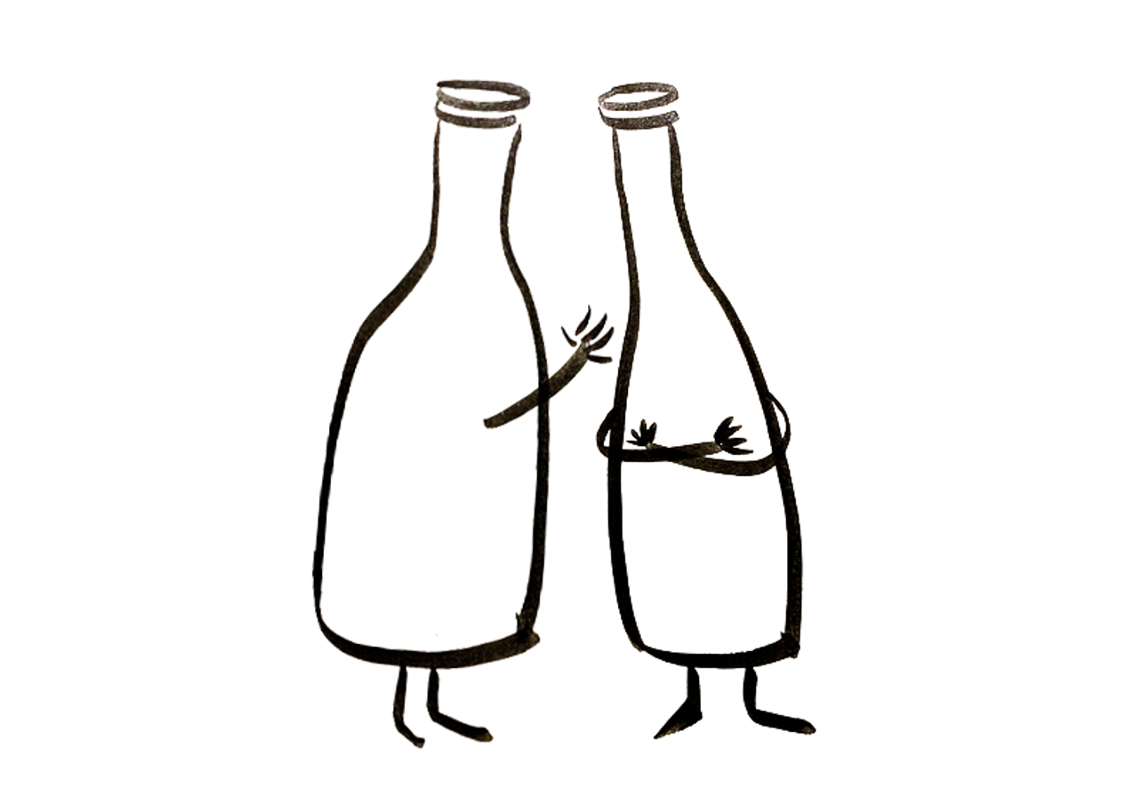 One anthropomorphic wine bottle whispers to another
