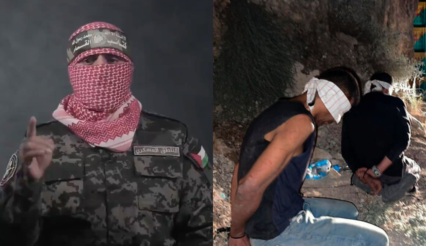 Collage: man in military fagitues with a scarf covering his face; two men bound and blindfolded