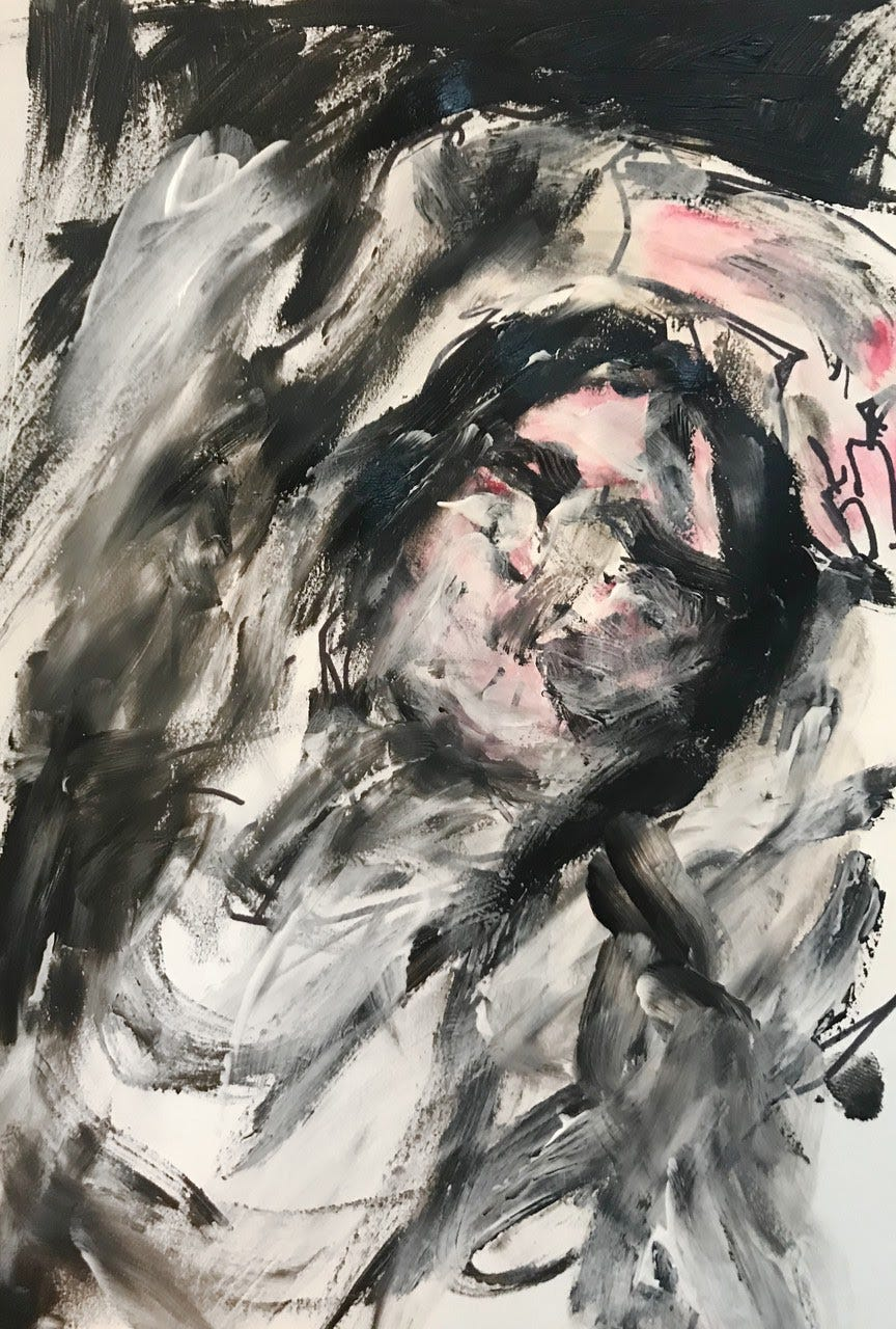 In the center of the portrait, there is a blurry woman without distinct features. All of her attributes are blurry to the viewer and the palette is mostly monochromatic besides a shade of pink on her face and hand. The woman is in a reclined position with her arm placed behind her head, appearing to be asleep. None of her extremities are fully visible though we can assume her arms are present.