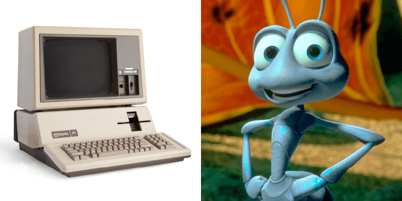 Photos: Apple III computer and still from A Bug's Life