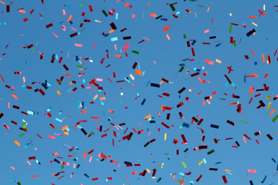 Confetti, Carnival, Flying, Sky