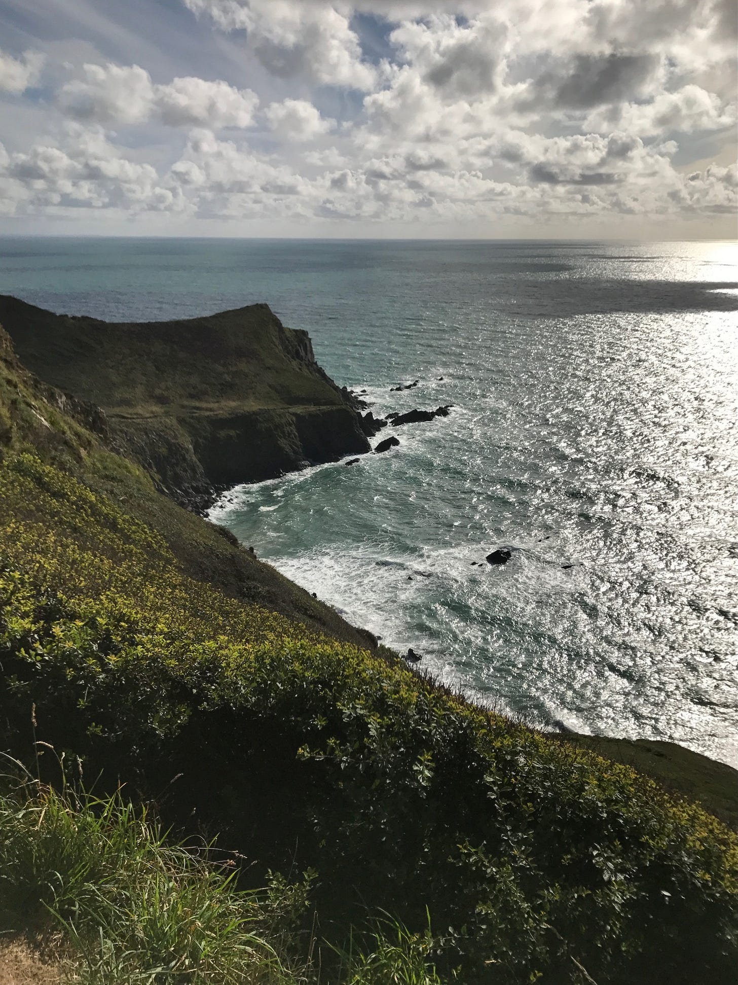 A view out to sea from a rugged headland - it's a sunny February day, and the sea is sparkling and blue.