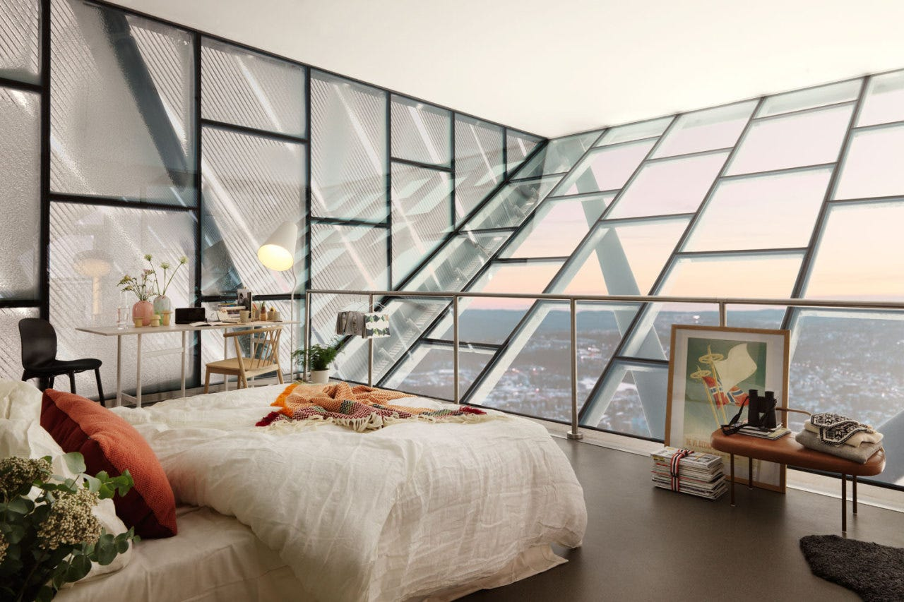 Bedroom on top of the Holmenkollbakken in Oslo (Wow!!) You can win a stay here, for more info see this post (including more pictures!) Follow Gravity Home: Blog - Instagram - Pinterest - Bloglovin - Facebook