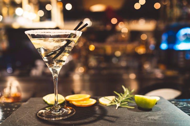 Martini glass in a bar