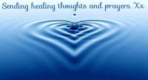 Ripple in water under text that says: Sending healing thoughts and prayers