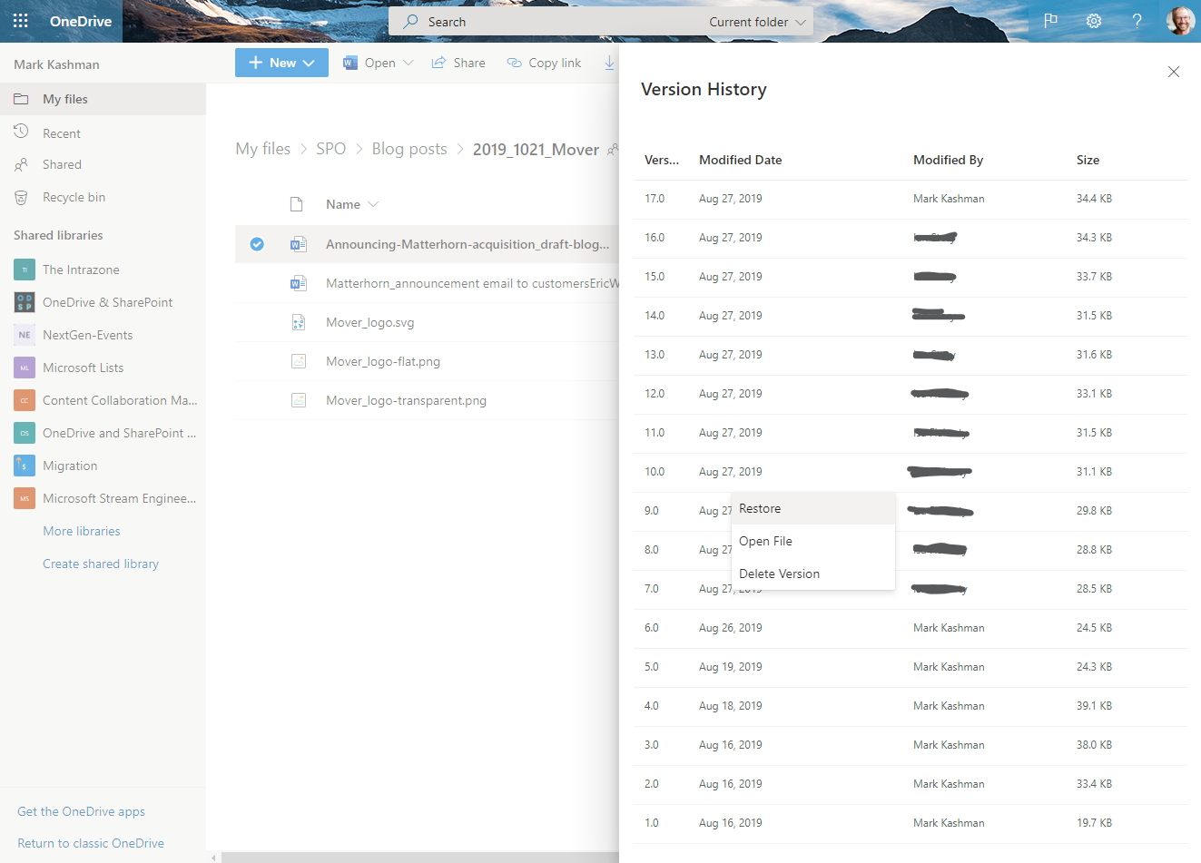 Right-click and select Version history to restore from a previous iteration of a file or list item in OneDrive (pictured), SharePoint, or Teams in Microsoft 365.