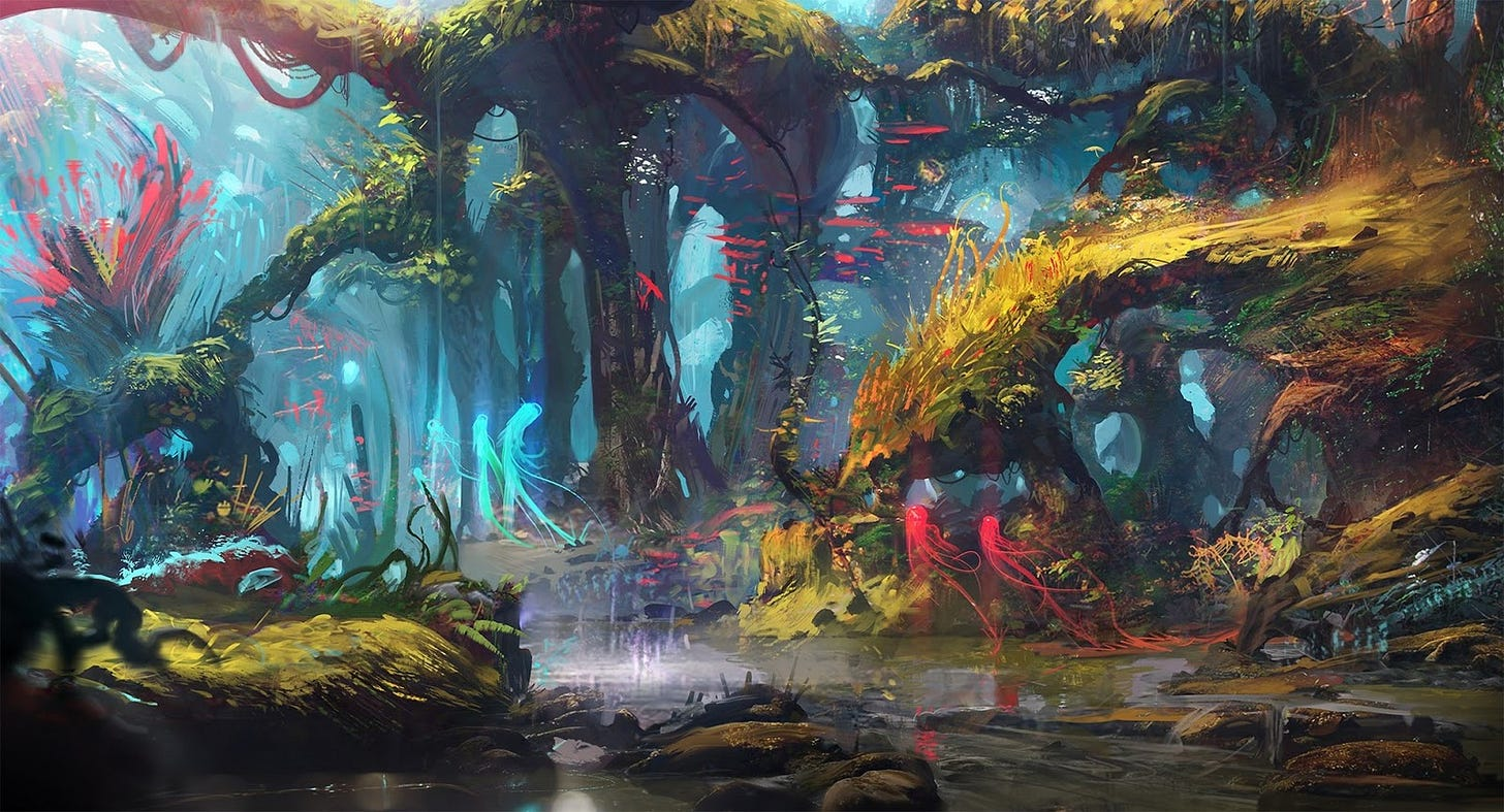 A fantasy scene of a forest with greenish-yellow trees with a river running through it that reflects like a mirror. There are trees and blue-tinged plants in the background and red and blue transparent creatures wandering through the scene.