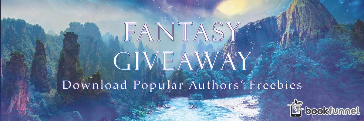 banner for second giveaway with fantastical looking gorge and forest