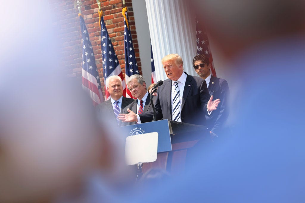 Former President Donald Trump announces a class action lawsuit against big tech companies Wednesday at the Trump National Golf Club in Bedminster, NJ. (Photo by Michael M. Santiago/Getty Images)