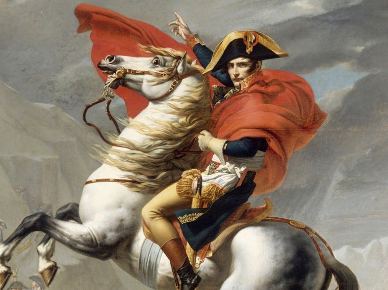 Portrait of Napoleon on a rearing horse