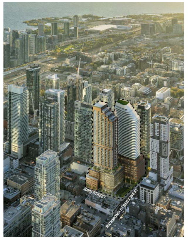 Rendering of buildings proposed to replace the Scotiabank theatre at John & Richmond