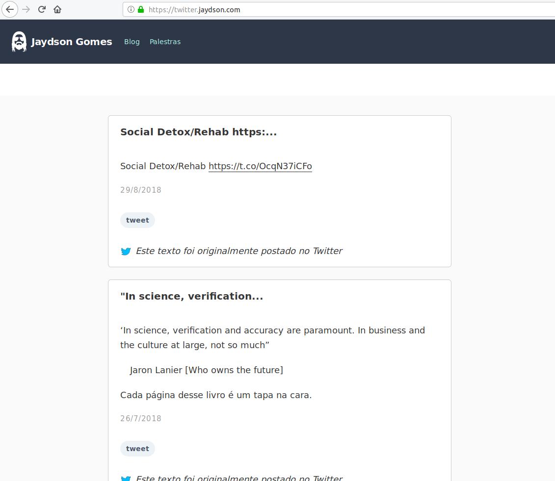 Screenshot do site twitter.jaydson.com