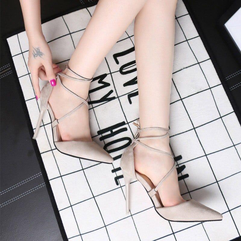 red bottom strappy heels