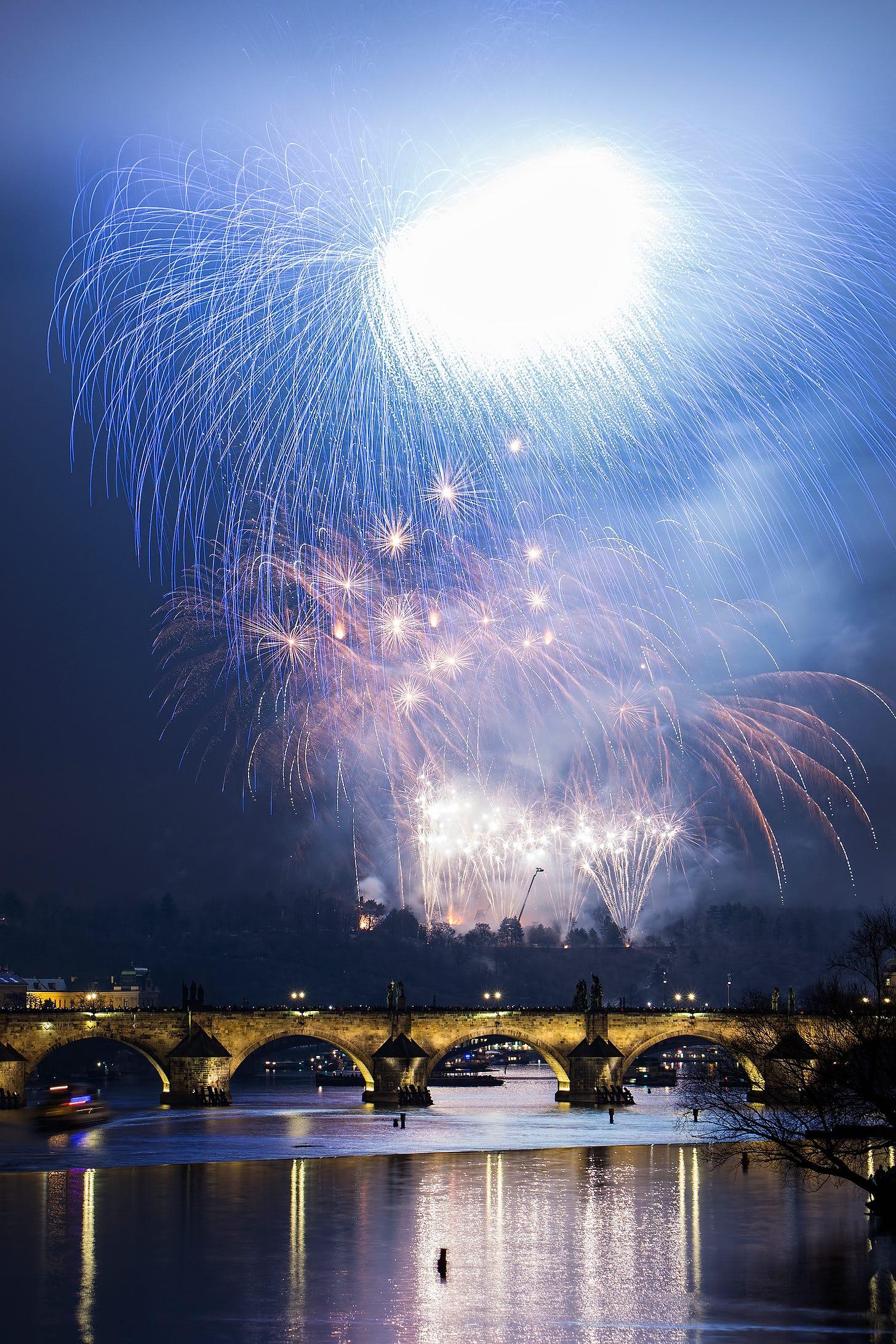 New Year's Eve fireworks in Prague, Czechia.