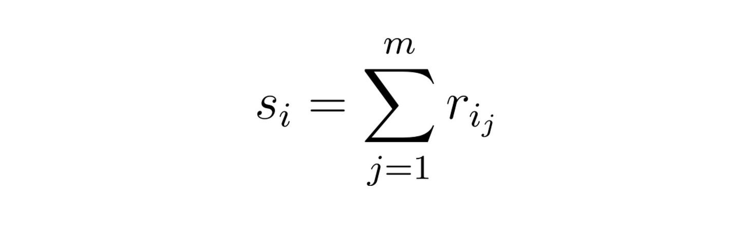 cumulative rating as scoring function