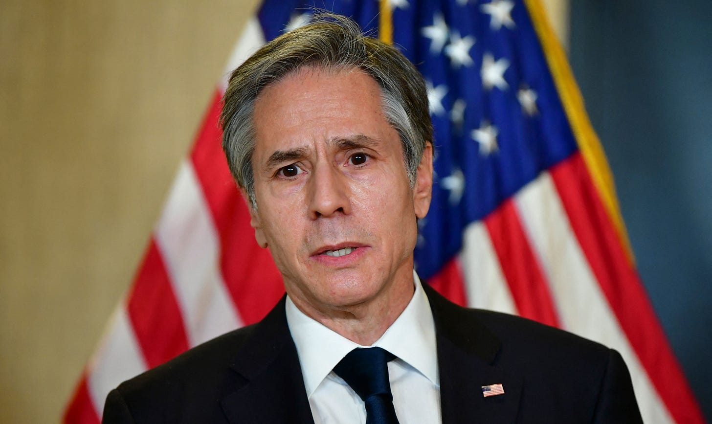 US Secretary of State Antony Blinken addresses the media following the closed-door morning talks between the United States and China upon conclusion of their two-day meetings in Anchorage, Alaska on March 19, 2021. (Photo by Frederic J. BROWN / POOL / AFP) (Photo by FREDERIC J. BROWN/POOL/AFP via Getty Images)