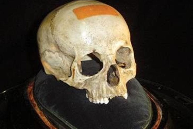 A bleached skull on a pillow