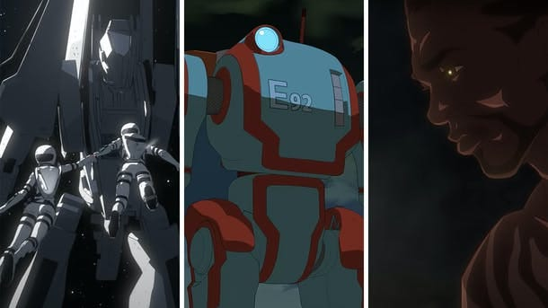 Scenes from Netflix's anime series Knights of Sidonia, Eden and Yasuke. Screengrabs via YouTube.