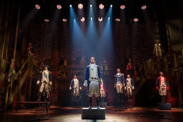 "Lin-Manuel Miranda, center, created and starred in ""Hamilton"" on Broadway. A filming of the show was slated for theatrical release in 2021, but instead will stream this summer because of the coronavirus pandemic."