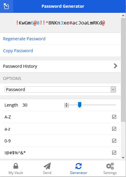 Password generator in Bitwarden app