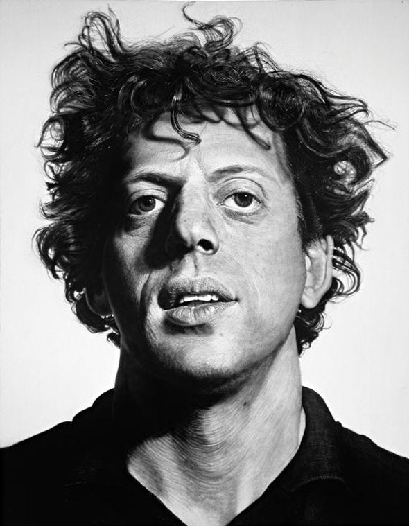 Well known portrait of a young Phillip Glass | Chuck close ...