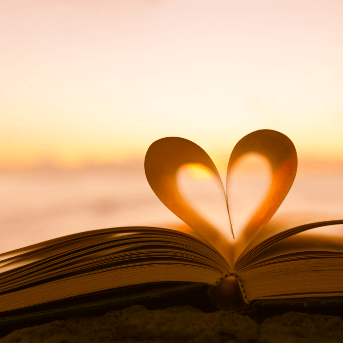 Pages of a book folded into a heart shape to celebrate Book Lovers Day 2019.