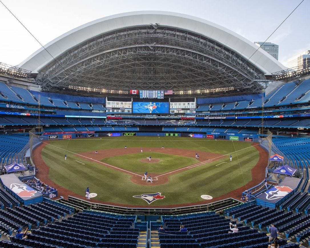The Toronto Blue Jays play an MLB intrasquad baseball game in a nearly empty Rogers Centre in Toronto on Thursday, July 9, 2020. Rogers Communications Inc. says it was exploring the future of its Toronto stadium prior to the COVID-19 pandemic, but now the virus has caused it to de-prioritize the matter.