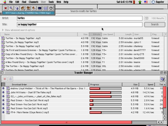 Napster user interface