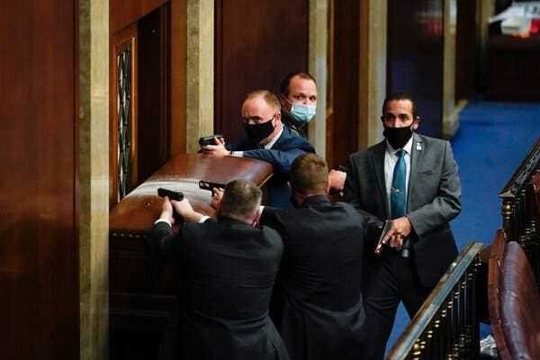 The Capitol Police tried to defend the House chamber from rioters.