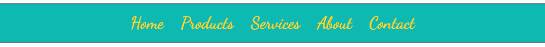 Teal green navbar with top and bottom borders, script font in yellow.