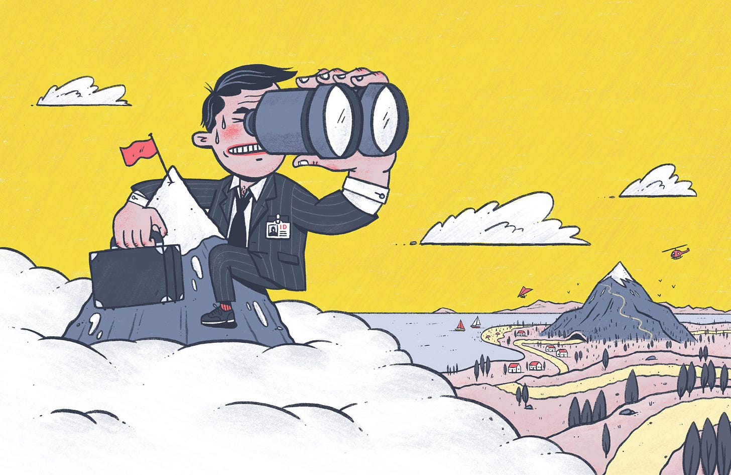 A man in a suit is on top of a mountain, looking through binoculars at another mountain far away.