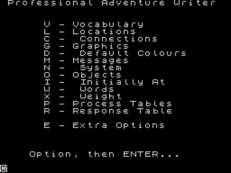 Screenshot of PAW, showing a menu of options for creating a text adventure program: the first view are V - Vocabulary, L - Locations, C - Connections...