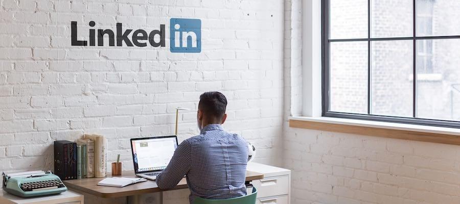Man working on laptop at LinkedIn
