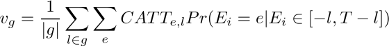 v_g = \frac{1}{|g|} \sum_{l \in g} \sum_e CATT_{e,l} Pr(E_i=e |E_i \in [-l, T-l])