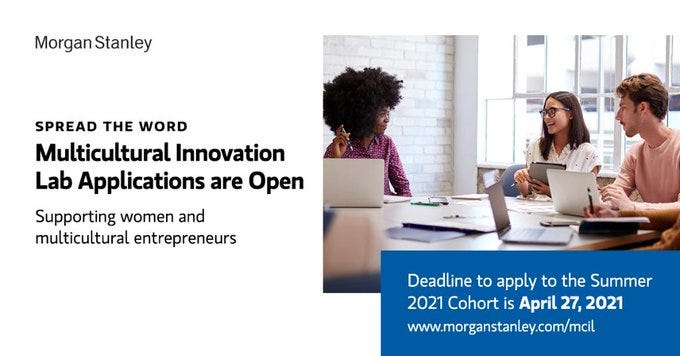 Apply to the Multicultural Innovation Lab Summer 2021 in New York City, United States. An intensive five-month accelerator designed to help further develop and scale startups, culminating in a Demo Day and showcase presentation to the investor community. Successful applicants will be provided wi...