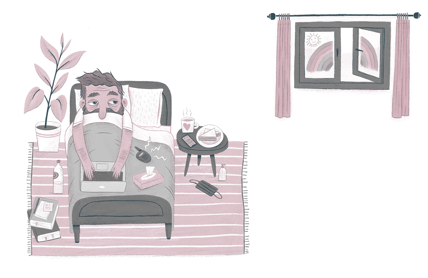 A man lies in bed, sick, looking out of the window.