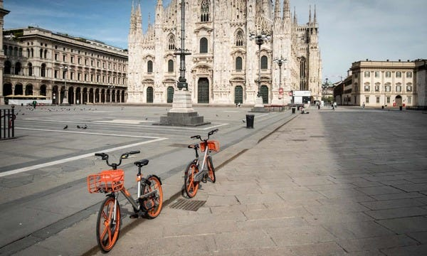 Milan announces ambitious scheme to reduce car use after lockdown.