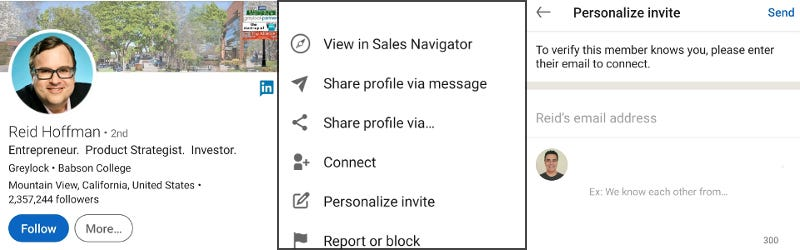 LinkedIn personalized connection request on mobile