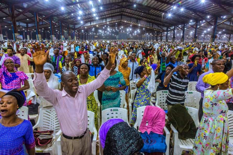 The congregation prays during the Redeem Christian Church of God's annual Holy Ghost convention