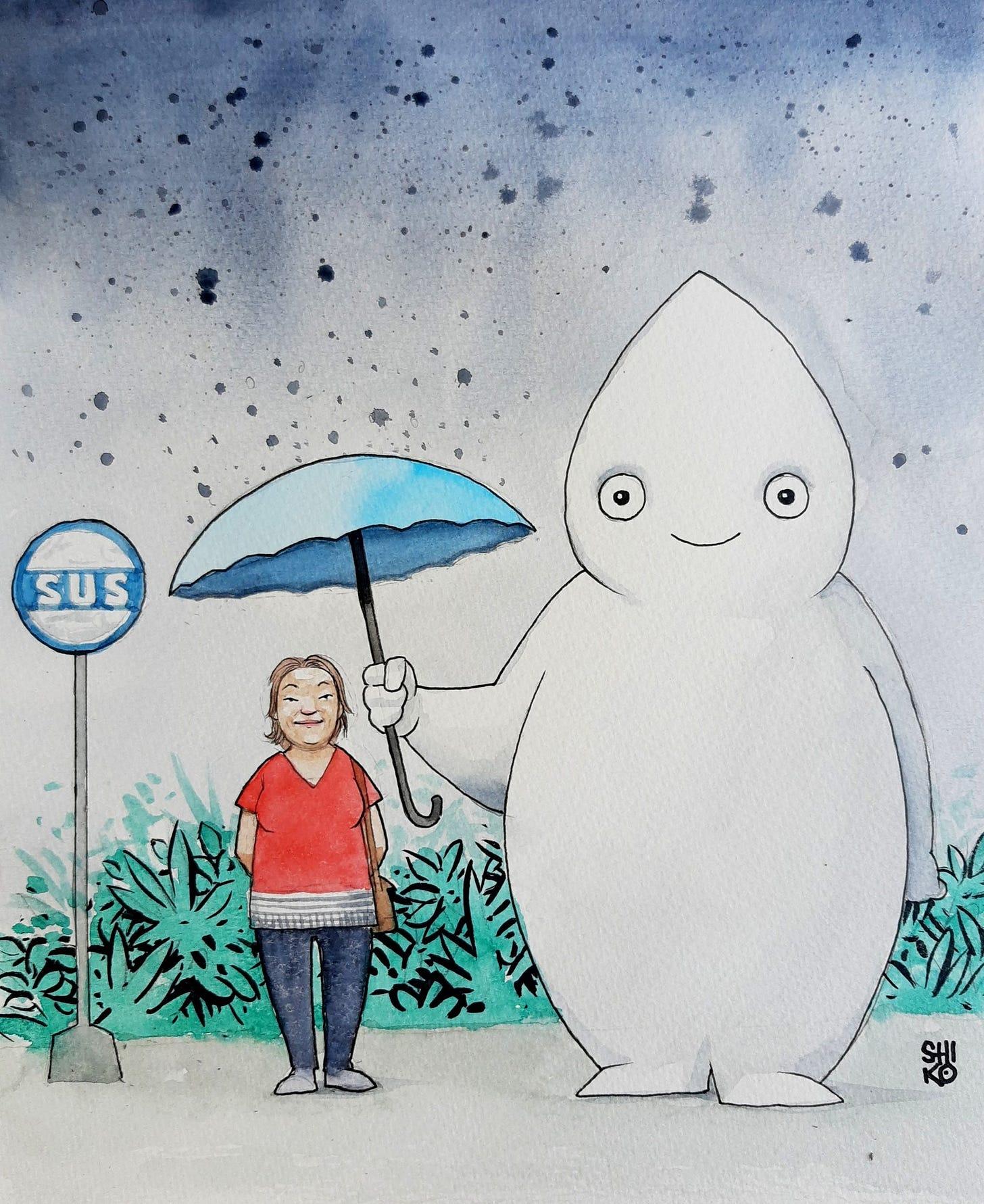 Ilustração remetendo à icônica cena de Meu amigo Totoro, de Miyazaki, em que um gato gigante segura um guarda-chuva para uma garotinha no ponto de ônibus. em vez disso, um Zé Gotinha gigante segurando um guarda-chuva para proteger uma senhora, ao lado de uma placa escrito SUS.