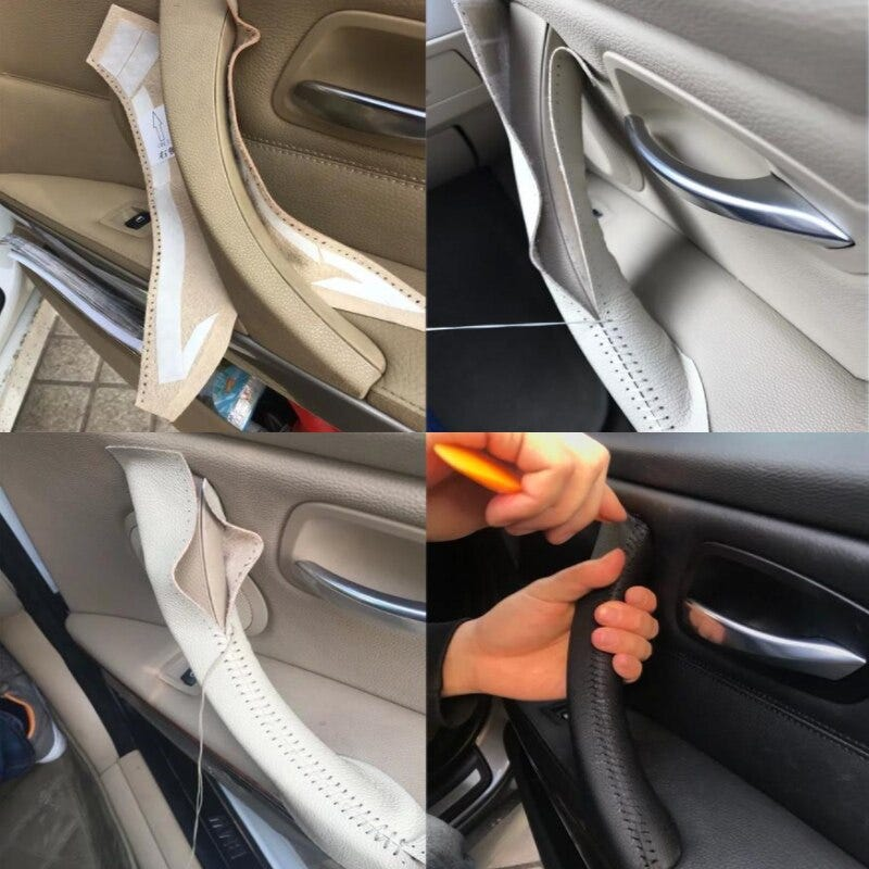 Hand Sewing Door Handle Pull Microfiber Leather Cover Trim For BMW 3 Series E90 E91 2005 - 2012 325 330 318 RHD/LHD