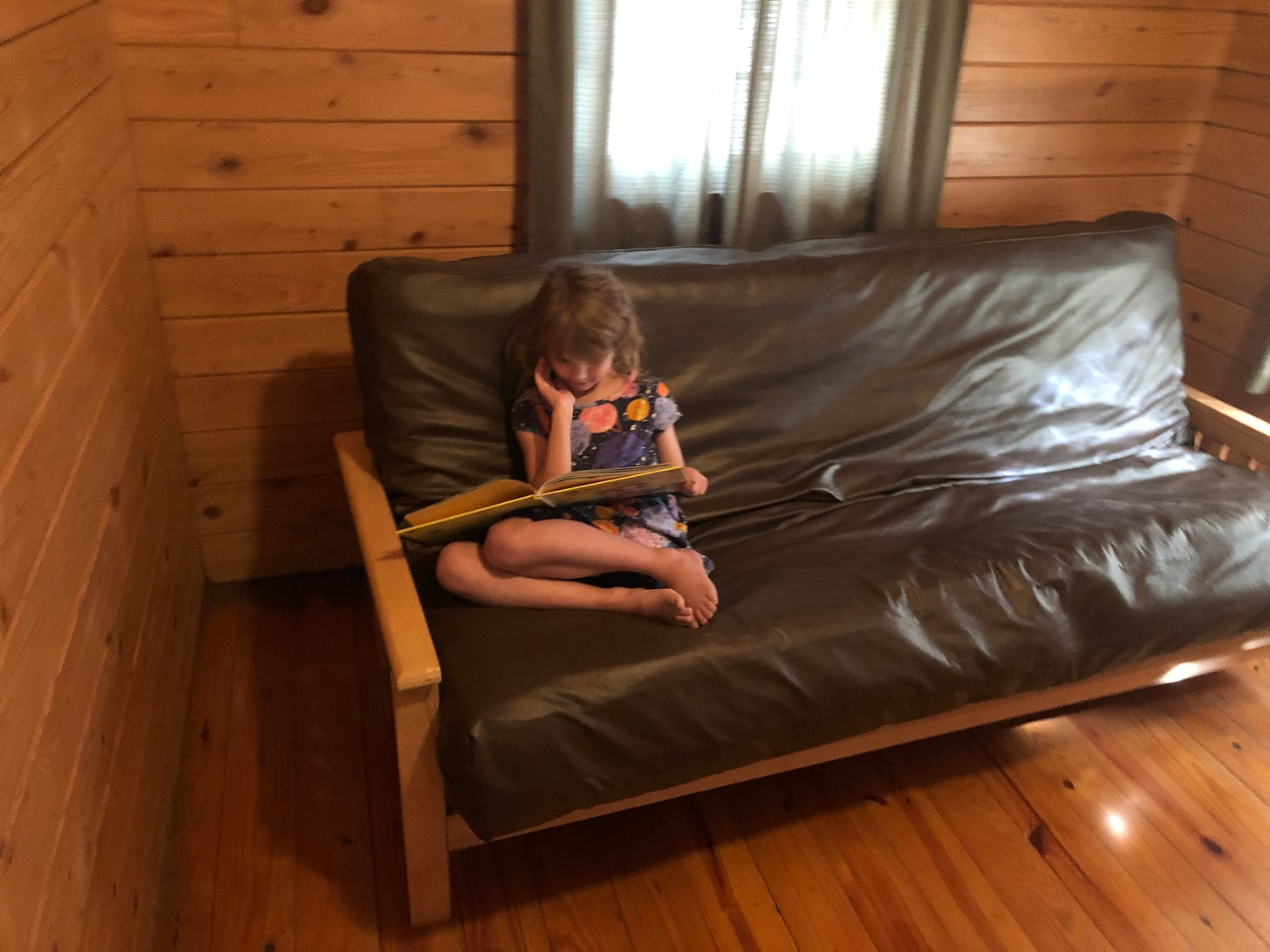 A girl sits on a futon in a pinewood cabin, reading.