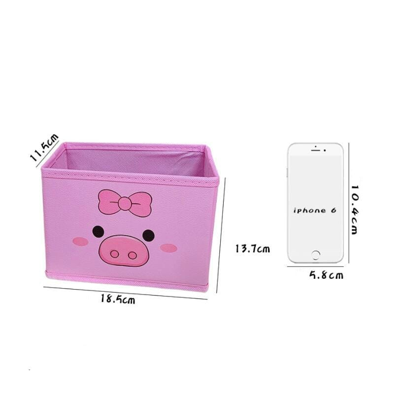 Japanese Style Cute Girl Heart Pink Receiving Box Piggy Desktop Receiving Box Student Bedroom Cosmetic Storage Box Toy Basket